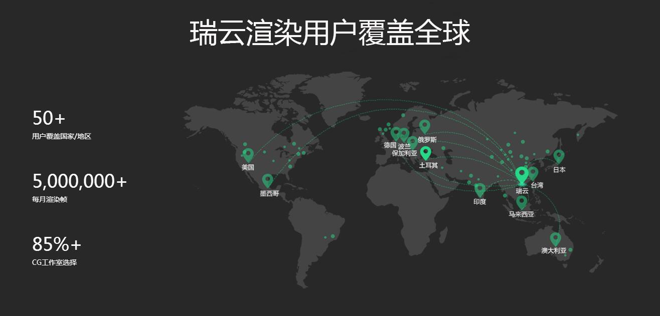 瑞云用户覆盖全球-Renderbus云渲染农场